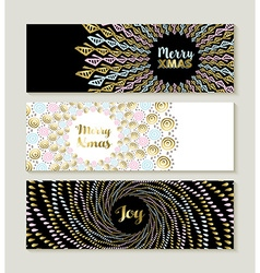Merry Christmas gold mandala set of banners vector image