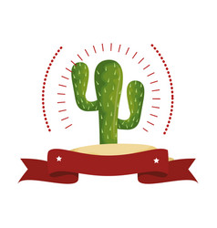 Colorful arch wit cactus with thorns and ribbon vector