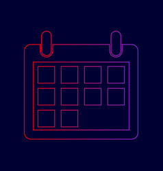 Calendar sign   line icon with vector