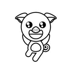 cartoon pig animal outline vector image