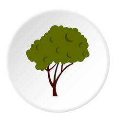Tree with fluffy crown icon circle vector