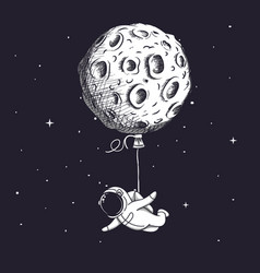 Funny spaceman fly with moon like a balloon vector