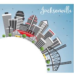 Jacksonville skyline with gray buildings blue sky vector