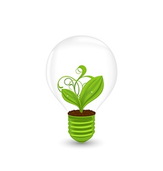 Bulb with green plant inside - eco technology vector