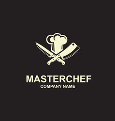 crossed knives and chef hat vector image