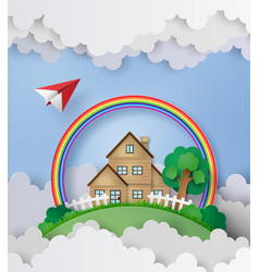 Plane fly over the house with rainbow and cloud vector