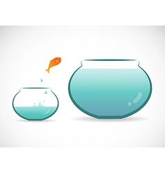 image of an fish jumping out of aquarium vector image