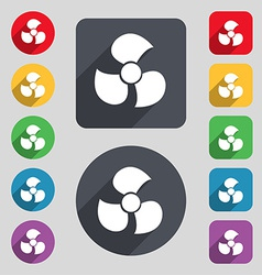 Fans propeller icon sign a set of 12 colored vector