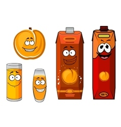 Sunny cartoon peach juice characters vector