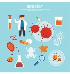 Biology background education concept flat design vector