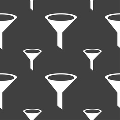 Funnel icon sign seamless pattern on a gray vector
