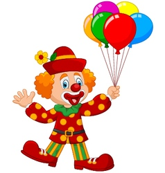 Adorable clown holding colorful balloon vector