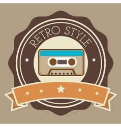 Recorder cassette retro label design vector