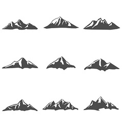 Set nine of mountain icons vector