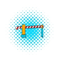Railway barrier icon comics style vector