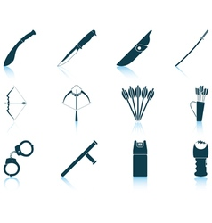 Set of weapon icons vector image