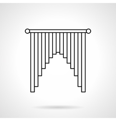 Interior curtains flat line icon vector