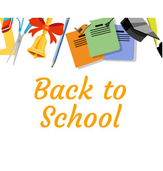 back to school background with school supplies set vector image vector image