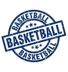 Basketball blue round grunge stamp vector