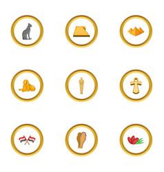 cairo icons set cartoon style vector image