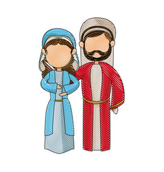 cartoon virgin mary and joseph manger image vector image vector image
