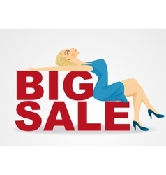 cartoon woman girl lying on big sale text vector image vector image