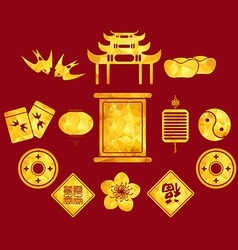 Chinese new year golden geometrical icons vector