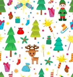 Christmas decoration seamless pattern vector image vector image