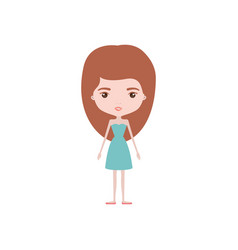 Colorful caricature skinny woman in dress with vector
