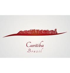 Curitiba skyline in red vector