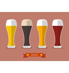 Four glasses of different beers icon vector