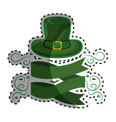 Green hat st patrick with ribbon and branches vector