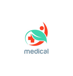 green leaf medic people logo vector image vector image