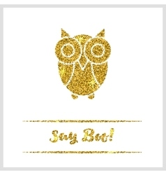 Halloween gold textured owl icon vector
