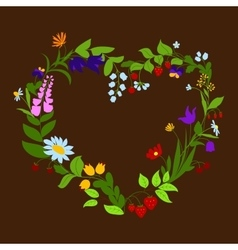 Heart shaped frame with flowers and berries vector