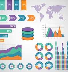 Infographics set world map and information vector