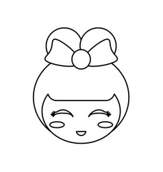 kokeshi face doll outline vector image vector image