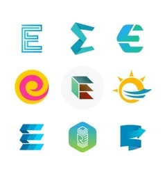 Letter E logo set Color icon templates design vector image vector image