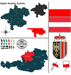 Map of upper austria vector