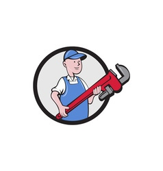 Mechanic cradling pipe wrench circle cartoon vector