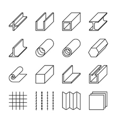 Metallurgy products line icons vector
