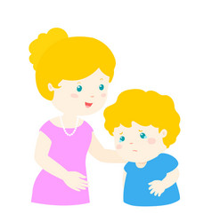 mother soothes crying son xa vector image vector image