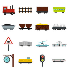 railway set flat icons vector image