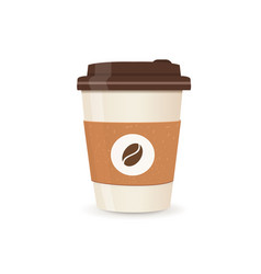Realistic paper coffee cup small size coffee vector