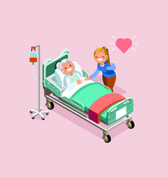 Retirement home isometric people vector