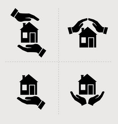 save house icons houses in hands home repair and vector image
