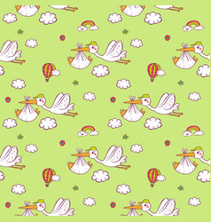 Seamless pattern with cute storks carrying the vector