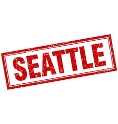 Seattle red square grunge stamp on white vector