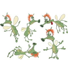 Set of green Insects cartoons vector image vector image
