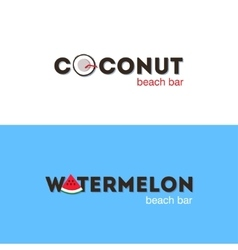 Set of logos for beach bar vector image